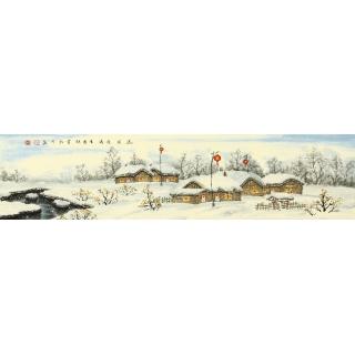 【已售】冯国钢四尺对开冰雪山水画《正月》
