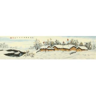 【已售】冯国钢四尺对开冰雪山水画《瑞雪迎春》
