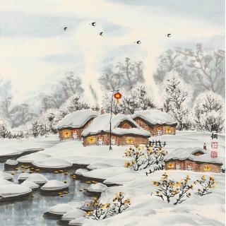 名家字画 冯国钢四尺斗方冰雪山水画《瑞雪》