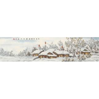 装饰画 冯国钢四尺对开冰雪山水画《瑞雪迎春》