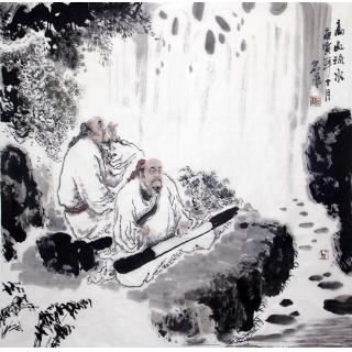 【已售】通史画创始人孙岩峰四尺斗方人物画《高山流水》