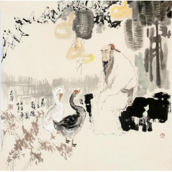 通史画创始人孙岩峰四尺斗方人物画《观鹅图》