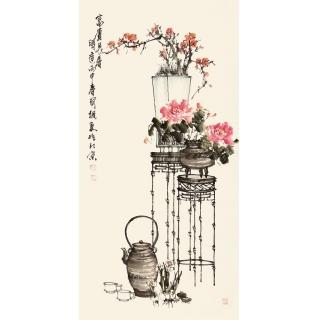 【已售】河北美协王国梁四尺竖幅花鸟作品《富贵长春》