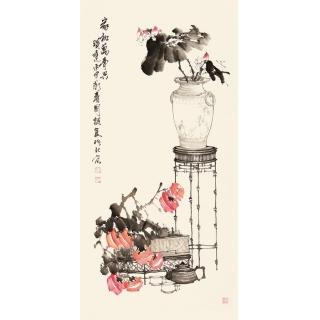 【已售】河北美协王国梁四尺竖幅花鸟作品《家和万事兴》