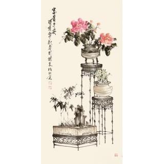 河北美协王国梁四尺竖幅花鸟作品《富贵平安》