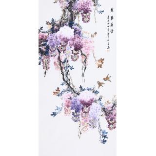 【已售】家居装饰画 许墨写意花鸟画紫藤图《紫韵飘香》