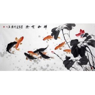 【已售】石艺博四尺横幅花鸟九鱼图《祥和有余》
