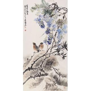 实力派画家石艺博四尺花鸟画《紫云飘香》