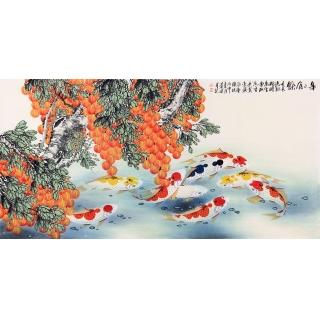 【已售】旺运招财 九鱼图 实力派画家周道泉荔枝鱼《年年有余》