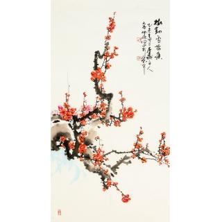 【已售】实力派画家李仲源三尺竖幅《梅花》