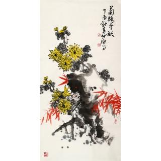 实力派画家李仲源四尺竖幅《菊艳争秋》
