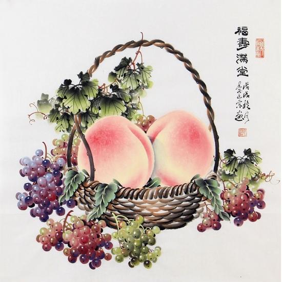 李正宗四尺斗方寿桃葡萄图《福寿满堂》
