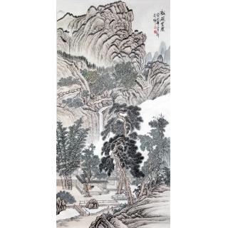 【已售】许文邠四尺竖幅山水画《松风书屋》