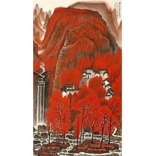 许文邠四尺竖幅山水画《万山红遍》