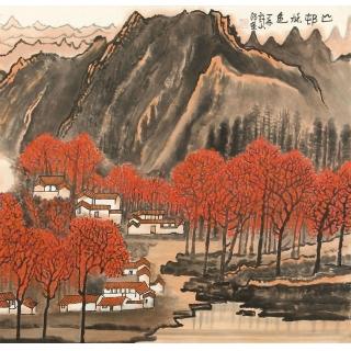 国画典藏 许文邠最新国画山水画《山邨烁色》