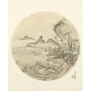 许文邠国画工笔山水画作品《溪山水阁》
