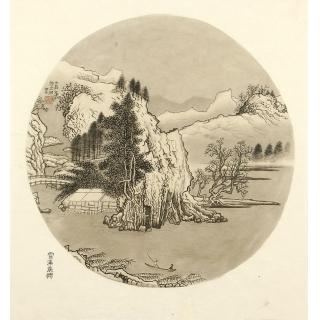 许文邠国画工笔山水画作品《雪溪乘兴》