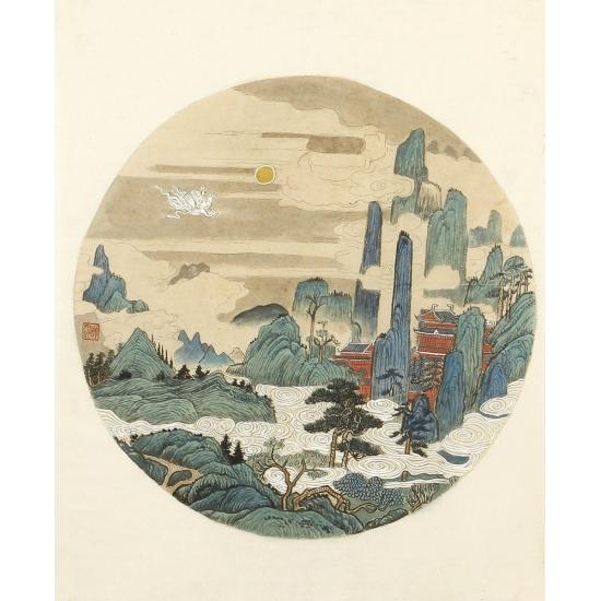 许文邠国画工笔山水画作品《小品山水》