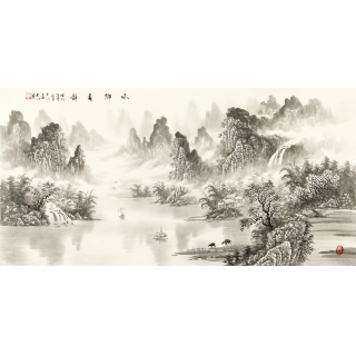 刘大海四尺横幅水墨山水画作品《水乡春韵》