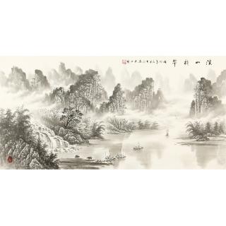 【已售】名家字画 刘大海四尺横幅水墨山水画作品《溪山積翠》