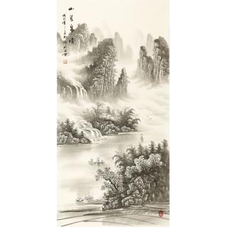 水墨山水画 刘大海四尺竖幅国画作品《山翠泉清》