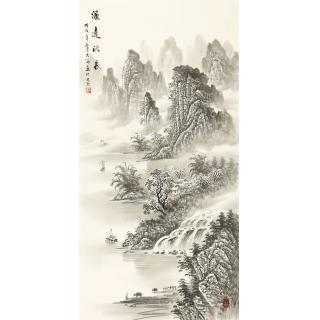 【已售】玄关装饰画 刘大海四尺竖幅国画山水画作品《源远流长》