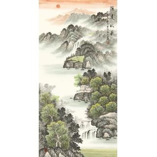 玄关旺财画 刘大海山水画《源远流长》