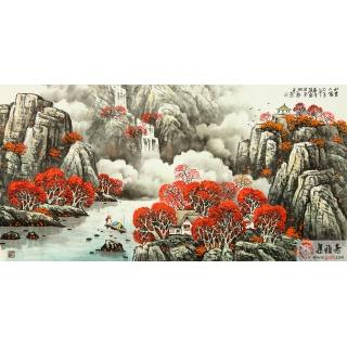河北美协会员王万泉四尺山水画《山里人家》