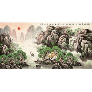 河北省美协 王万泉四尺山水画《风水宝地 紫气东来》