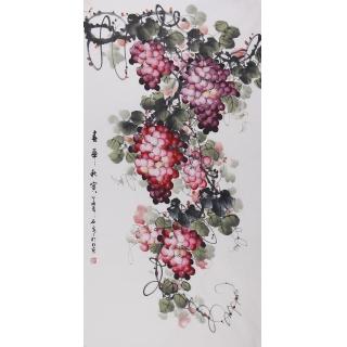【已售】赵汗青四尺竖幅国画葡萄《春华秋实》