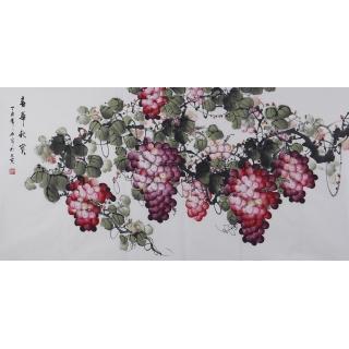 赵汗青精品国画葡萄图四尺横幅《春华秋实》