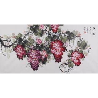 赵汗青四尺横幅手绘葡萄《多福》