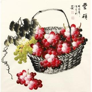 新生代潜力画家赵汗青葡萄图《丰硕》