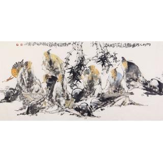 名家字画 实力派画家李傅宇四尺人物画《竹林七贤图》