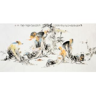 当代书画美术名人李傅宇 四尺人物画《煮茶图》