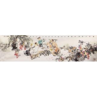 【已售】石慵六尺对开人物画《春园品新茶》