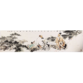 石慵六尺对开人物画《松云对弈图》