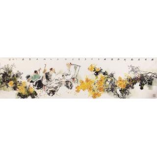 江苏美协石慵六尺对开人物画《漫烂》