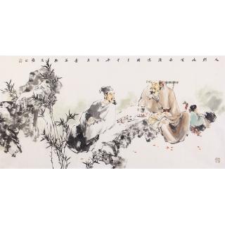 【已售】江苏美协石慵四尺人物画《人间此处最清凉》