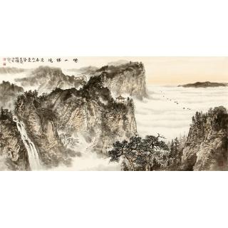 名家字画 李焕辉四尺横幅写意山水画作品《倦山胜境》