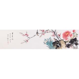 【已售】王梓旭四尺对开花鸟画《早春图》