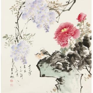 王梓旭四尺斗方写意花鸟画《紫气东来》