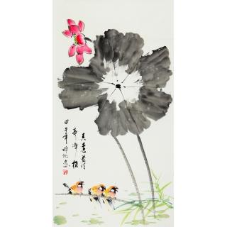 王梓旭三尺竖幅花鸟画《香远益清》
