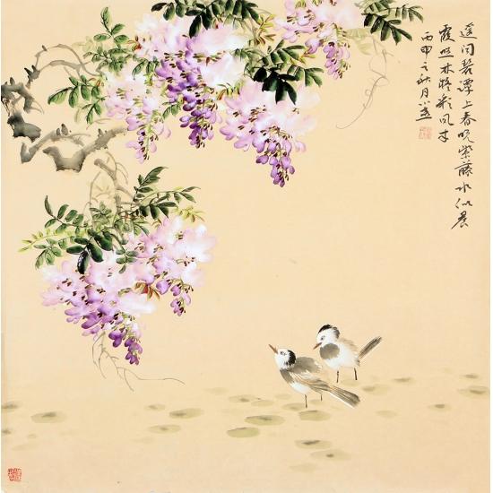 皇甫小喜四尺斗方写意花鸟画 紫藤图