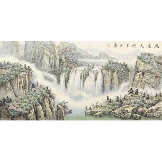 中美协会员俎翠林四尺横幅山水画《风光无限》