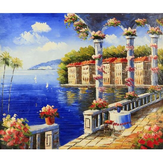 欧式客厅装饰画 书房挂画 邹志兴油画《科莫湖》