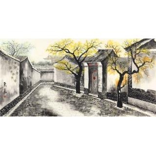 东美四尺横幅老北京胡同书画作品《胡同》