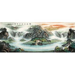 【已售】聚宝盆山水画 陈厚刚八尺山水画作品《源远流长广聚才》