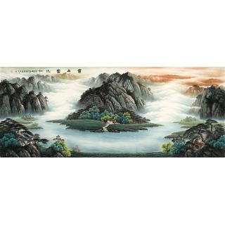 【已售】办公室装饰画 陈厚刚山水画作品《宝山富水》