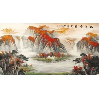 【已售】国家一级美术师陈厚刚六尺聚宝盆山水画《鸿运当头》